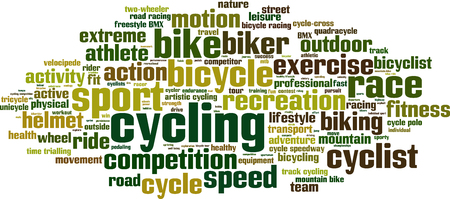 velocipede: Cycling word cloud concept.  Illustration