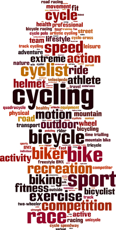 velocipede: Cycling word cloud concept.