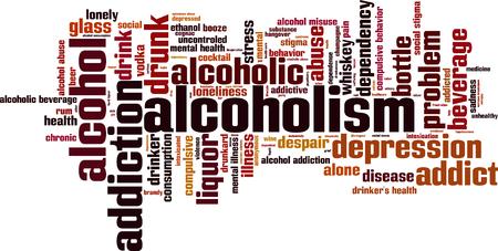 misuse: Alcoholism word cloud concept. Vector illustration Illustration