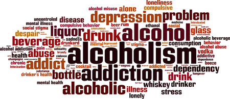addictive: Alcoholism word cloud concept. Vector illustration Illustration