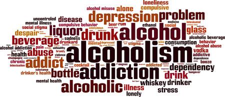 dependency: Alcoholism word cloud concept. Vector illustration Illustration