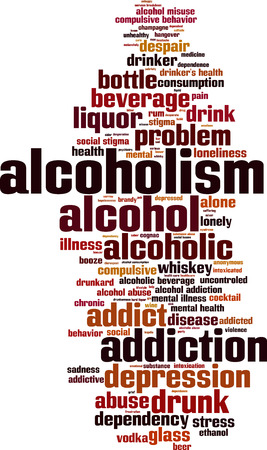 drunkard: Alcoholism word cloud concept. Vector illustration Illustration