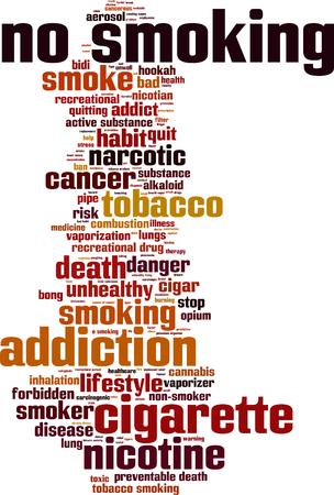 inhalacion: Ning�n concepto nube de palabras de fumar. Ilustraci�n vectorial Vectores