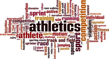 pentathlon: Athletics word cloud concept. Vector illustration