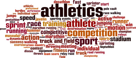 hurdles: Athletics word cloud concept. Vector illustration