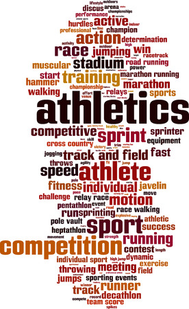 pentathlon: Athletics word cloud concept. Vector illustration