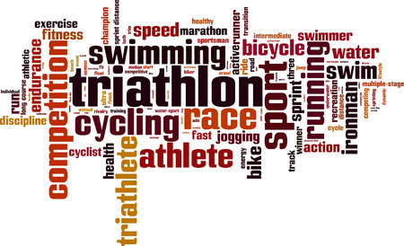 long distance: Triathlon word cloud concept. Vector illustration