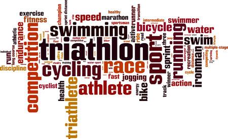 wort: Triathlon Wort Cloud-Konzept. Vektor-Illustration