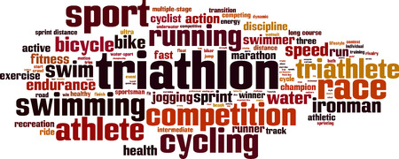 Triathlon word cloud concept. Vector illustration