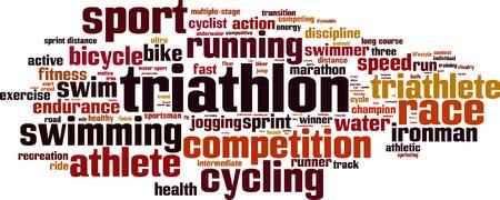 Triathlon woord wolk concept. Vector illustratie Stock Illustratie