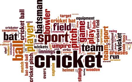 m�nzenwerfen: Cricket Wort Cloud-Konzept. Vektor-Illustration