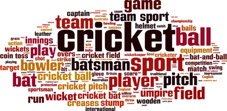 bails: Cricket word cloud concept. Vector illustration Illustration