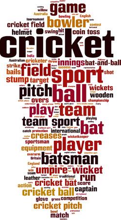 rn: Cricket word cloud concept. Vector illustration Illustration