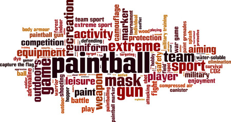 compressed air: Paintball word cloud concept. Vector illustration