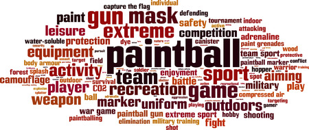 soluble: Paintball word cloud concept. Vector illustration
