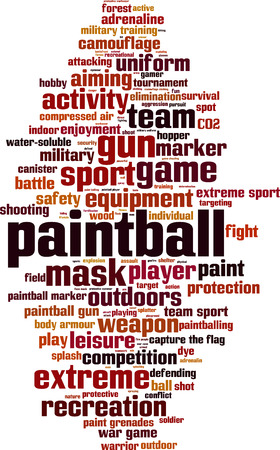 hopper: Paintball word cloud concept. Vector illustration