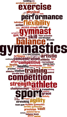 Gymnastics word cloud concept. Vector illustration Stock Illustratie
