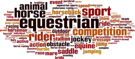 eventing: Equestrian word cloud concept. Vector illustration