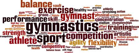 gimnasia ritmica: Gimnasia palabra concepto nube. Ilustraci�n vectorial