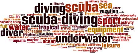 compressed air: Scuba diving word cloud concept. Vector illustration