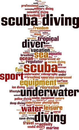 scuba diving: Duiken woordwolk concept. Vector illustratie