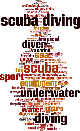 compressed gas: Scuba diving word cloud concept. Vector illustration