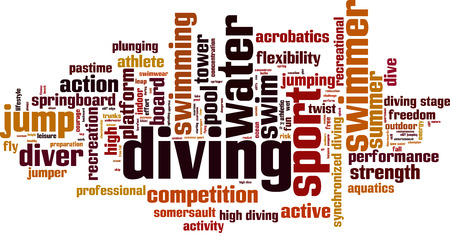 synchronized: Diving word cloud concept. Vector illustration