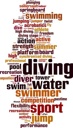 springboard: Diving word cloud concept. Vector illustration
