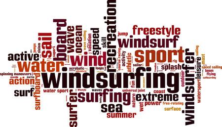 windsurfing: Windsurfing word cloud concept. Vector illustration Illustration