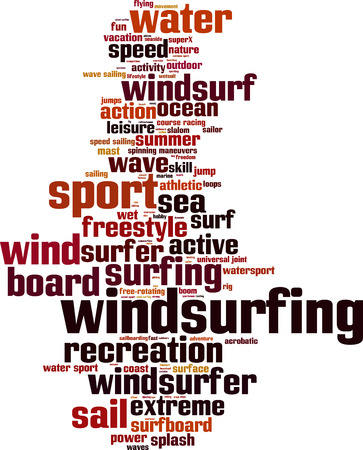 windsurf: Windsurfing word cloud concept. Vector illustration Illustration