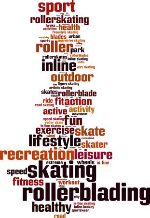inline skate: Rollerblading word cloud concept. Vector illustration Illustration