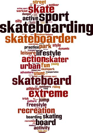 skatepark: Skateboarding word cloud concept. Vector illustration