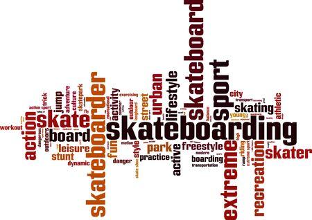 skatepark: Skateboarding word cloud concept. Vector illustration