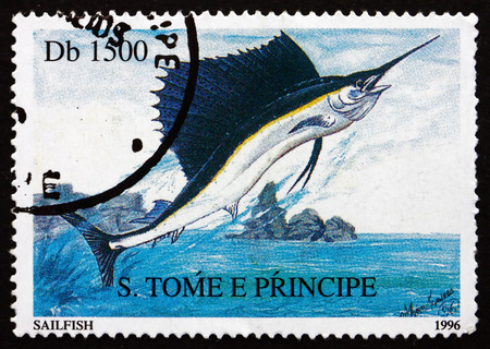 sailfish: SAO TOME AND PRINIPE - CIRCA 1996: a stamp printed in Sao Tome and Principe shows Sailfish, Istiophorus Platypterus, Fish, circa 1996 Editorial