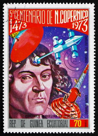 mathematician: EQUATORIAL GUINEA - CIRCA 1973: a stamp printed in Equatorial Guinea shows Nicolaus Copernicus, Mathematician and Astronomer, 500th Birth Anniversary, circa 1973 Editorial
