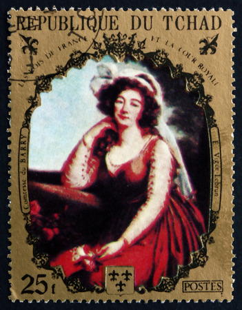 chadian: CHAD - CIRCA 1971: a stamp printed in Chad shows Comtesse du Barry, Painting by E. Vigee Lebrun, French Painter, circa 1971 Editorial