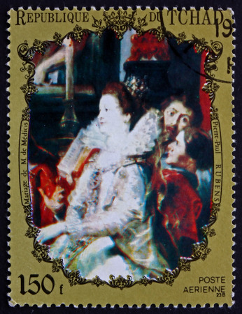 flemish: CHAD - CIRCA 1972: a stamp printed in Chad shows Marriage of Marie de Medicis, Painting by Sir Peter Paul Rubens, Flemish Painter, circa 1972