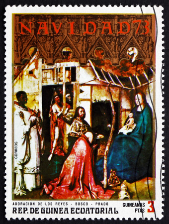 EQUATORIAL GUINEA - CIRCA 1973: a stamp printed in Equatorial Guinea shows Nativity, Painting by Bosco, Hieronymus Bosch, was an Early Netherlandish Painter, circa 1973
