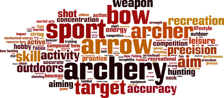recurve: Archery word cloud concept. Vector illustration Illustration
