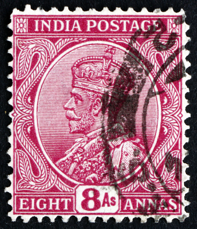 indian postal stamp: INDIA - CIRCA 1911: a stamp printed in India shows King George V, Emperor of India, circa 1911 Editorial