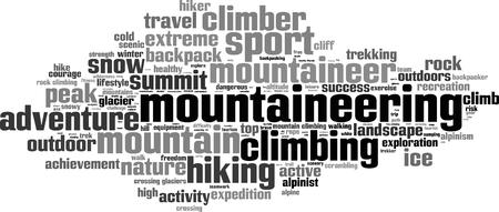 alpinism: Mountaineering word cloud concept. Vector illustration Illustration