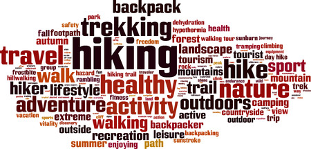 hillwalking: Hiking word cloud concept. Vector illustration