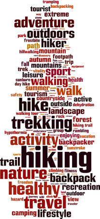 walking trail: Hiking word cloud concept. Vector illustration