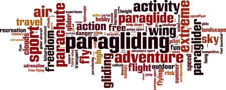 paragliding: Paragliding word cloud concept. Vector illustration