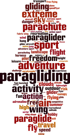 launched: Paragliding word cloud concept. Vector illustration