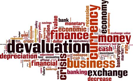 monetary devaluation: Devaluation word cloud concept. Vector illustration