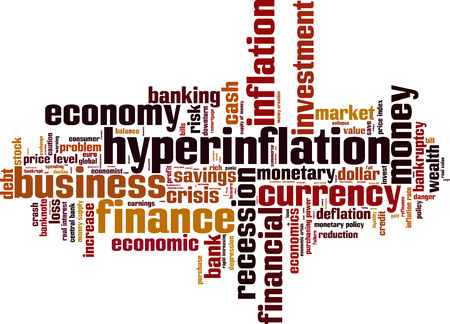 monetary policy: Hyperinflation word cloud concept. Vector illustration