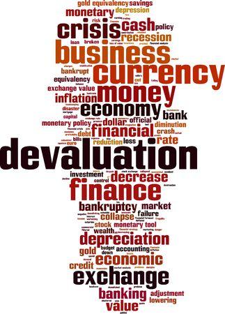 decline in values: Devaluation word cloud concept. Vector illustration