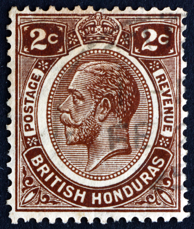 BRITISH HONDURAS - CIRCA 1922: a stamp printed in British Honduras shows King George V, King of the United Kingdom and the British Dominions, circa 1922