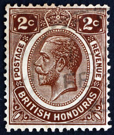 BRITISH HONDURAS - CIRCA 1922: a stamp printed in British Honduras shows King George V, King of the United Kingdom and the British Dominions, circa 1922 Editorial